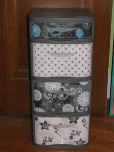 I did this and LOVE IT!!  I had my plastic bin stored away because it looked so crappy--but now it looks great!  I also added personalized labels to the drawers in a fun font!! LOVE IT!