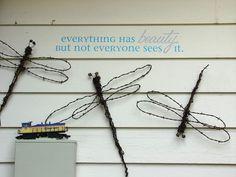 making dreamy dragonflies for the garden, crafts, gardening, repurposing upcycling, Barbed wire dragonflies Barb Wire Crafts, Metal Crafts, Outdoor Crafts, Outdoor Art, Outdoor Gardens, Metal Garden Art, Metal Art, Garden Junk, Garden Whimsy