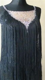 Zwarte latin jurk met 13 gross swarovski Nieuw!!!! | TE KOOP AANGEBODEN! wedstrijdkleding dames | DeJo`s Danceworld