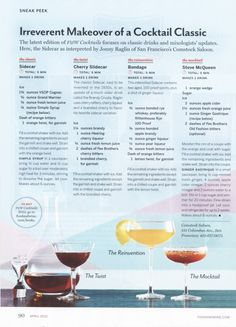 Interpretations of the Sidecar, from Food & Wine magazine