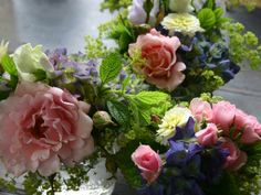 Jam jar posies - a July mix - our wedding flowers are strictly seasonal and all UK-grown here at Common Farm Flowers in Somerset.