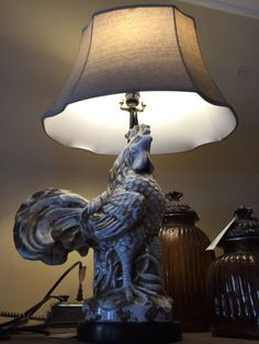 ROOSTER LAMP-WITH SHADE-WHITE