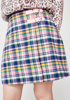 Lazy Oaf Check Kilty Skirt will have ya lookin' extra cute. Make 'em want ya with this lil plaid skirt that has pink heart buckle details and a back zipper closure. #dollskill #lazyoaf #newarrivals