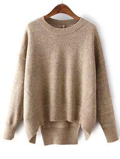Romwe Dip Hem Slit Khaki Sweater