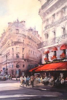 """Vladislav Yeliseyev, Cafe Le Saint-Germain, Paris. 17"""" x 23"""""""