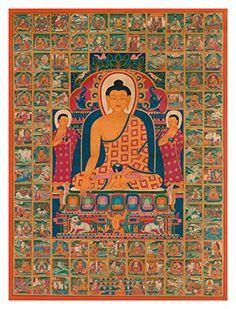 Thangka of Buddha with the One Hundred Jataka Tales (Large Size) - Fine Art Print