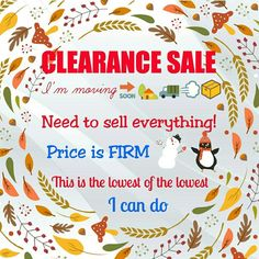 ✨ CLEARANCE SALE ✨ Everything is on its lowest price!! THEY ALL MUST GO!!!  PRICE IS FIRM!! This is the lowest of the lowest I can do!! Moving SOON, ALL UNSOLD ITEMS will be donated!!! ---------------------------------------------------------------------- Other