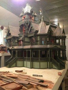 miniature dolls dollhouse Carson Mansion scale in Dolls & Bears, Dollhouse Miniatures, Doll Houses Haunted Dollhouse, Haunted Dolls, Dollhouse Kits, Dollhouse Dolls, Dollhouse Miniatures, Haunted Mansion, Miniature Rooms, Miniature Houses, Miniature Furniture