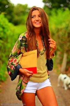 Silk floral kimono jacket..