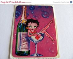 ON SALE Rare Vintage Lisa Frank Betty Boop in a Champagne Glass Sticker - Retro 80's Pin Up Flirty Burlesque Cartoon Illustration