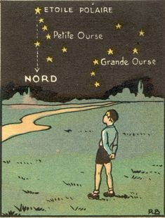 Constellations: Polar star, Little Dipper; Big Dipper and Nord=North (French translation to English) Constellations, Children's Book Illustration, Girl Illustrations, Collage, Stargazing, Stars And Moon, Night Skies, Childrens Books, Graphic Art