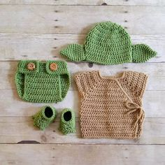 Crochet Baby Yoda Star Wars Set Hat Beanie Diaper Cover Robe Shirt Shoes  Slippers Booties Newborn Infant Photography Photo Prop Handmade 08afbe9959e1