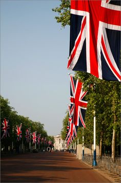Flags of the UK, lining the street.
