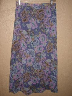 JACLYN SMITH FLORAL Polyester GEORGETTE Modest SKIRT sz 6 Purples Blues Romantic #JaclynSmith #ALine
