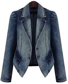 Plus Size  Single Breasted Stretch Denim Jacket Vintage Jeans, Jean Vintage, Denim Jeans, Denim Blazer, Blazer Jacket, Denim Suit, Female Suit, Look Blazer, Oversized Denim Jacket