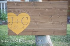 Wedding Guest Book Alternative with Wrap-Around Heart (Initials) Wedding Wood Sign Yellow Wedding AmandaGDesigns