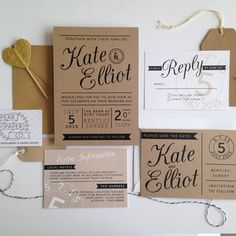 i love the look of these invites with the balance of sizes and styles of fonts and some darker portions that could be color and the screened back wedding date on all of the pieces