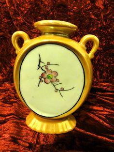 """Vintage Oriental Ceramic 5"""" Vase Flowers & House Made in Japan"""