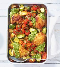 Our tray bake recipes are easy to clean, simple to make and packed with wholesome ingredients. Try our salmon tray bake, our summer chicken tray bake or our sausage and balsamic tomato tray bake. Chicken Tray Bake Recipes, All You Need Is, Summer Chicken, Cooking Recipes, Healthy Recipes, Kalbasa Recipes, Fodmap Recipes, Quick Recipes, Amazing Recipes