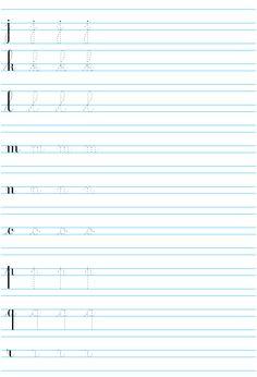 lettres de l'alphabet cursives à imprimer ; de j à r