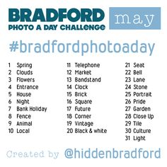 May Bradford Photo a Day starts tomorrow