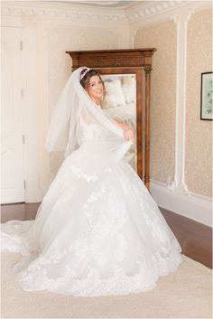 bride twirls in wedding dress and veil in bridal suite at Ashford Estate | Classic summer wedding at the Ashford Estate with fairytale details photographed by NJ wedding photographer Idalia Photography. See more inspiration here for a classic summer wedding day! #IdaliaPhotography #AshfordEstateWedding #NJWedding #ClassicWedding Bridal Suite, Bridal Robes, Ashford Estate, Nj Wedding Venues, Wedding Morning, Bridesmaid Robes, Wedding Gallery, Intimate Weddings, Summer Wedding