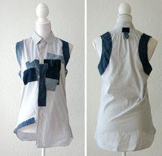 Upcycling mens shirt to a stylish shirt