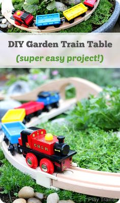 "Super easy way to make a DIY outdoor wooden train ""table""...no tools required to make this mini garden railway!"