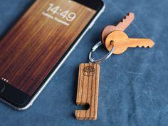 Zebrano Wood smartphone stand keychain. Real от TwinsWoodCompany