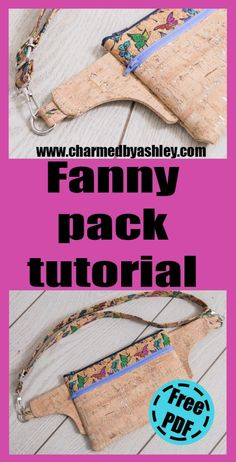 I like that this can also be crossbody and can be done in leather, cork, krafttex etc Fanny Pack Pattern, Wallet Pattern, Cork Fabric, Fabric Bags, Waist Purse, Hip Bag, Bag Patterns To Sew, Patchwork Bags, Handmade Bags