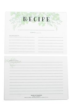 Recipe Card Set of 12 | Write down all your family favorites on these gems!