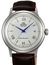 Orient Bambino 2nd-Gen Automatic Dress Watch with White Dial, Vibrant Blue Hands #AC00009W