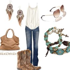 White tank, blue jeans, turquois accessory.