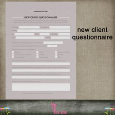new client / customer questionnaire psd by kmpdigitaldesigns, $4.00