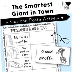 The Smartest Giant in Town Matching Cut and Paste Worksheet Cut And Paste Worksheets, Worksheets For Kids, Literacy Activities, Literacy Centers, English Activities, Reading Stations, Phonics Words, Phonics Reading, Teaching Language Arts