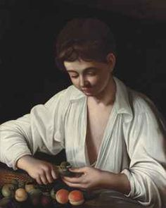 Carravagio (1571-1610), Boy peeling a fruit, via Christie's