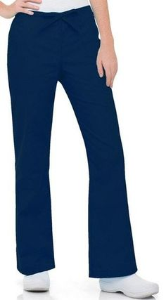 This flare leg mid-rise pant has fashion flair! Drawstring front and elastic back give you relaxed style with a secure natural fit. Contouring adds shapliness to the seat whil Nurse Uniforms, Landau Scrubs, Flare Leg Pants, Medical Scrubs, Contouring, Nursing, Pajama Pants, Legs, Navy
