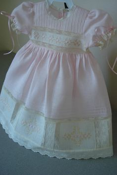 Lace and pin tucks dress Vintage Baby Dresses, Little Dresses, Little Girl Dresses, Christening Gowns, Heirloom Sewing, Girl Doll Clothes, Barbie Clothes, Embroidery Dress, Baby Sewing