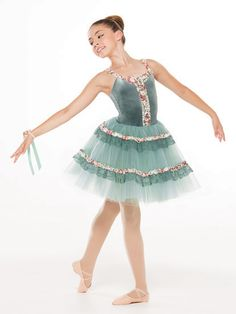 NEW! 2017 Collection Ballet Costume: Stretch velvet leotard has attached, nude adjustable straps under rosette trim with matching bodice detail. Attached European-length skirt is layers of tulle under organdy with lace and rosette trim.  Includes headpiece, bobby pins, corsage, hanger and garment bag.