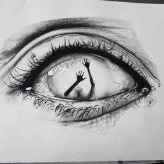 Eye art et dessin image # art # dessin image Creepy Drawings, Dark Art Drawings, Creepy Art, Pencil Art Drawings, Art Drawings Sketches, Cool Drawings, Eye Drawings, Drawing Art, Drawing Eyes