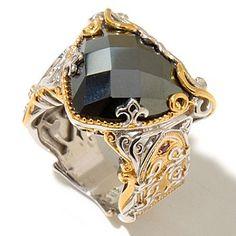 Gems en Vogue II 16mm Trillion Hematite & Ruby Ring