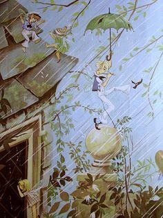 """Children's book illustration From a """"Book of Rhymes"""", 1977 Illustrators: Janet & Anne Grahame Johnstone Book Illustrations, Children's Book Illustration, Parasols, Umbrellas, Kids Story Books, Tarot, Fairytale Art, Mail Art, Children's Books"""