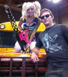 Norman Reedus & the zombie slaying Lollipop Chainsaw Girl. :)