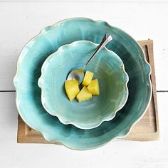 there is balance in this piece with the smaller bowl inside the other. they are both symmetric and create an impression of equality.
