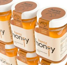 Hantz Honey · Packaging and Logo Design Honey Packaging, Jar Packaging, Food Packaging Design, Brand Packaging, Plastic Packaging, Honey Jar Labels, Honey Label, Label Design, Logo Design