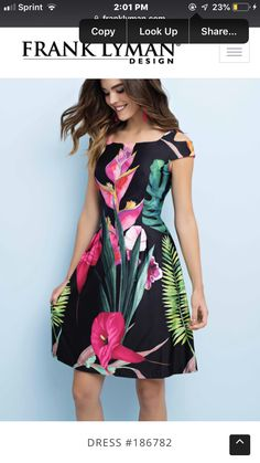 62cb6575a33b9 Floral print, black spring dress Spring Dresses, Fashion Forward, One  Shoulder, Shoulder