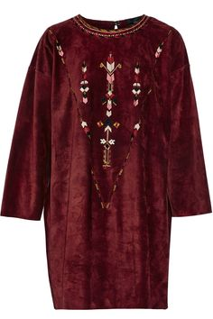 ISABEL MARANT Maggy Embroidered Suede Mini Dress. #isabelmarant #cloth #dress