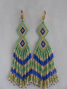Native American Seed Bead Earrings  Green/Royal Blue by pattimacs, $36.00
