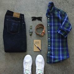 Stylish Grid by @awalker4715 Follow @stylishgridgame Brands ⤵ Shirt: @jcrew Shoes: @adidasoriginals Watch: @omega Watch Strap: @crownandbuckle Sunglasses: @rayban Belt: @corterleather Note Pad: @fieldnotesbrand