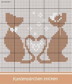 Romantische Hochzeitskatzen sticken #Sticken #Kreuzstich #Hochzeit #Katzen; #Embroidery #marriage #cat / #ZWEIGART #stitchwithlove
